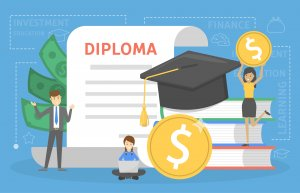 Investment in education concept. Saving money for study in university or college. Cost of diploma. Graduation cap on the book. Flat vector illustration