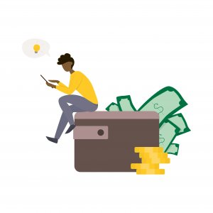Rich man sitting on the big wallet full of money. Coin stack, cash income. Idea of financial growth. Vector illustration in cartoon style